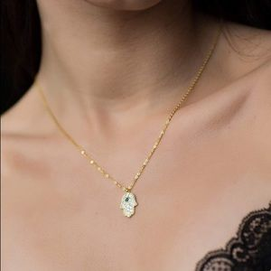 Jewelry - NEW✨ 14K Gold 925 Sterling Silver Hamsa Necklace